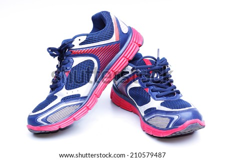 running shoes with red and blue colors                               - stock photo