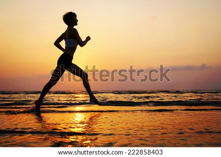 running silhouette - stock photo