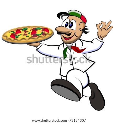 running Supplier with a freshly baked pizza - stock photo