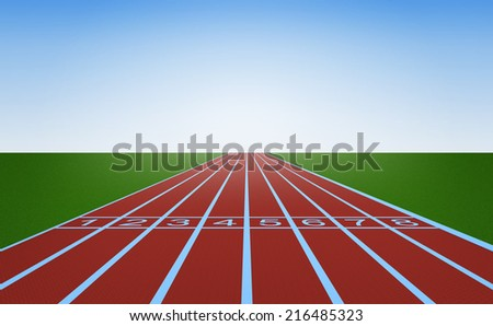 Running track and start position - stock photo