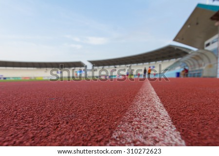 Running track close up. Selective focus - stock photo