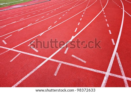 Running track for athletes - stock photo