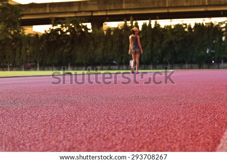 Running track for the athletes background. - stock photo