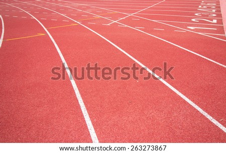 Running track in stadium. - stock photo