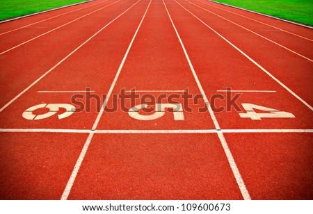 Running Track Lane Numbers - stock photo
