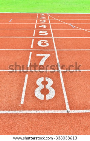 Running Track Lane Numbers - stock photo