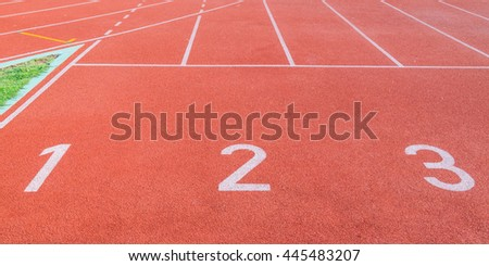 Running track numbers. - stock photo