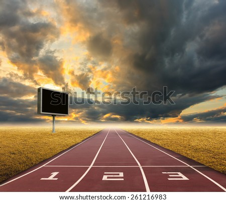 running track on sky background. - stock photo
