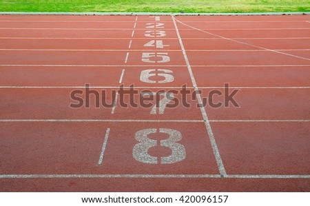 Running track. Start and finish point of running track. - stock photo