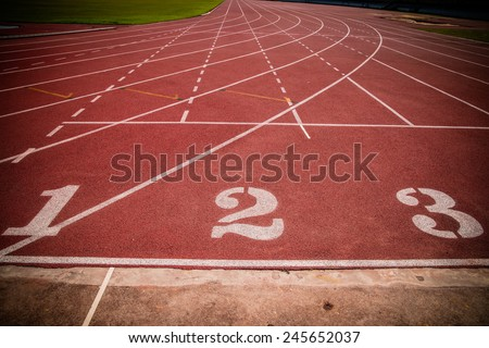 Running track, start point number 1, 2, 3 - stock photo
