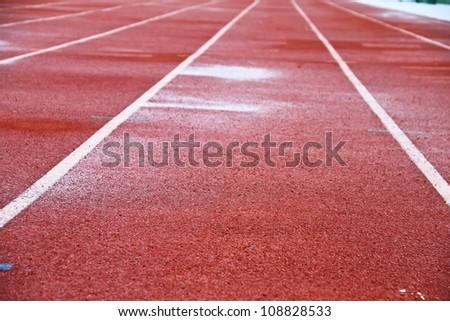 Running Track wet - stock photo