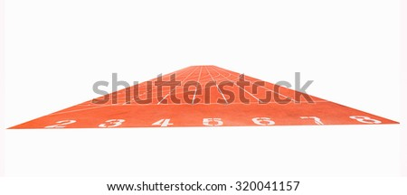 Running track ,  white background - stock photo