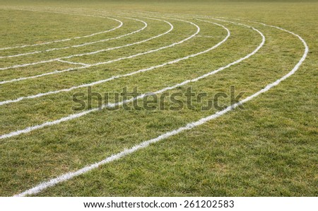 Running Track White line on Grass - stock photo