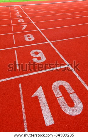 Running track with number 1-10 - stock photo
