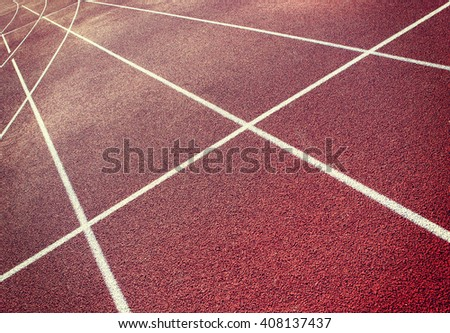 Running tracks with an angle. - stock photo