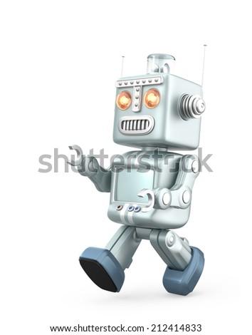 Running vintage robot isolated on white background - stock photo