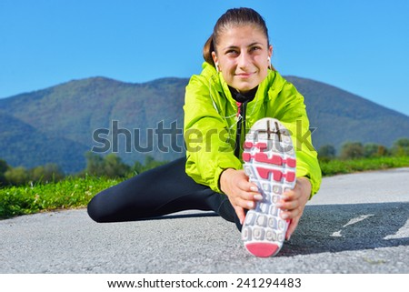 Running woman. Female runner jogging during outdoor workout - stock photo