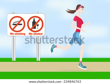 Running woman outdoors in flat design style. Jogging outdoors. Raster version - stock photo