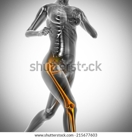 running woman radiography scan image - stock photo