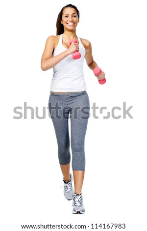 Running woman with dumbbell weights, gym workout isolated on white background - stock photo