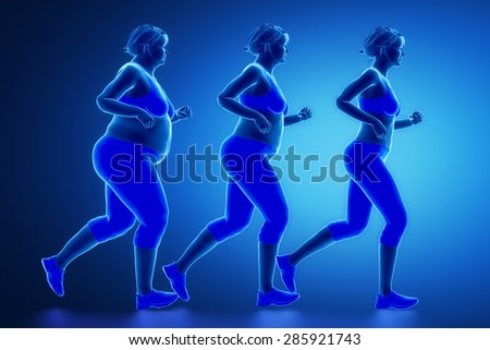 Running woman with obesity - stock photo