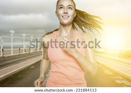 Running young woman  - stock photo