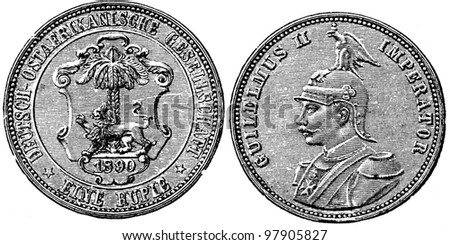 """Rupee German East African Company, 1890 - an illustration to articke """"Coins"""" of the encyclopedia publishers Education, St. Petersburg, Russian Empire, 1896 - stock photo"""