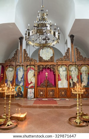 Rupite, Bulgaria - September 25, 2015: Unusual icons and frescoes in the church of the famous prophet and clairvoyant Baba Vanga in Rupite, Bulgaria - stock photo