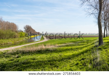 Rural area on a sunny day in springtime with a farmer preparing his field and a row of bare trees reflected in the water of a canal with flowering yellow charlock on the waterfront. - stock photo