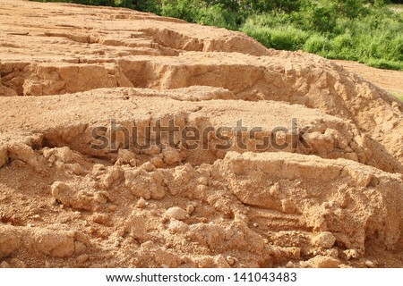 rural clay soil at countryside - stock photo