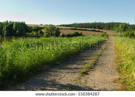 Rural Dirt Road with Fields in Background - stock photo