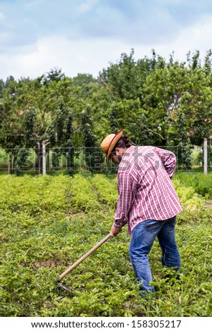 rural farmer with hat on his head working on his farm. vertical composition. - stock photo