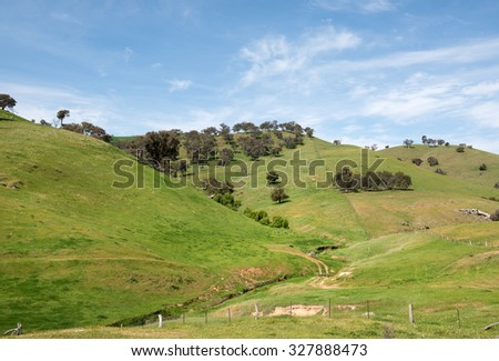 Rural farmland, in Southern New South Wales, Australia - stock photo
