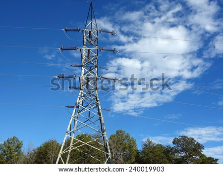 Rural high voltage electric transmission lines - stock photo