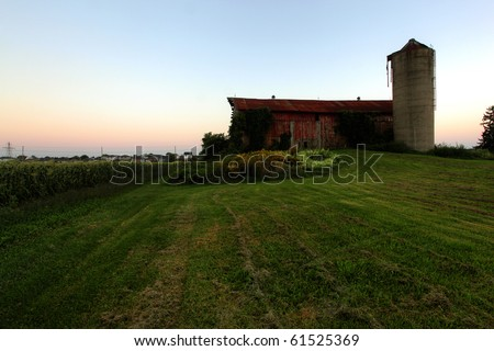 rural homestead in the farm country - stock photo