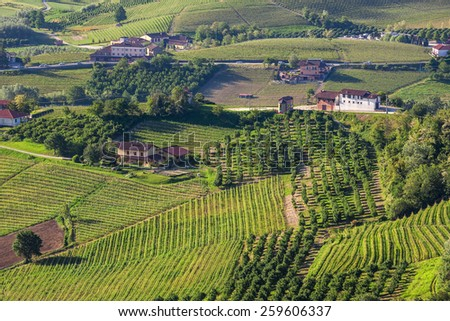 Rural houses among green hills and vineyards of Piedmont, Northern Italy (view from above). - stock photo