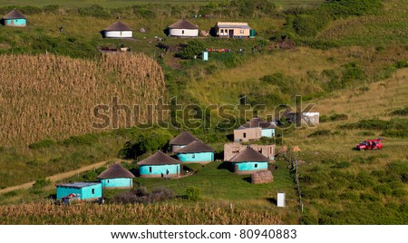 rural housing south africa - stock photo