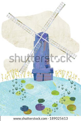 rural landscape and mill on hill - stock photo