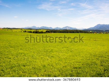 Rural landscape at lake Riegsee in Bavaria - stock photo