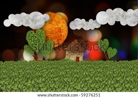 rural landscape illustration - stock photo
