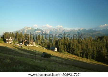 Rural landscape in the Tatra Mountains on the border between Polish and Slovakia. - stock photo