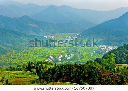 Rural landscape in Wuyuan, China. - stock photo
