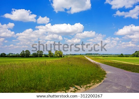 Rural landscape, meadow with cart track in the foreground, blue sky with white clouds - stock photo