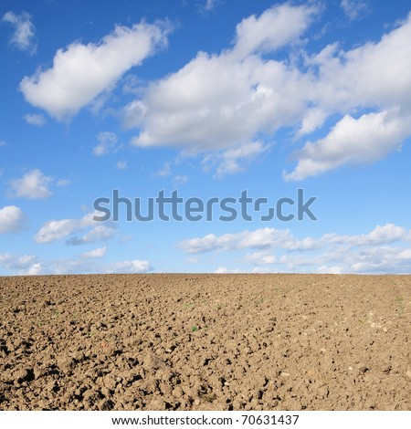 Rural Landscape of a Ploughed Field in Spring - stock photo
