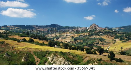 Rural landscape of region Molise in center Italy, the little villages are Limosano and S.Angelo Limosano - stock photo