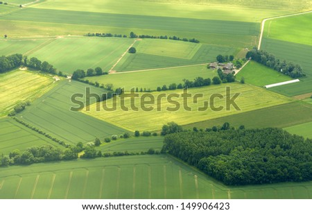 Rural landscape. View from the airplane - stock photo