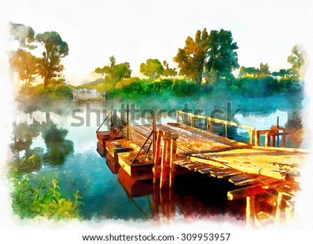 Rural landscape, watercolour. Crossing to the other side of the river on a wooden ferry - stock photo