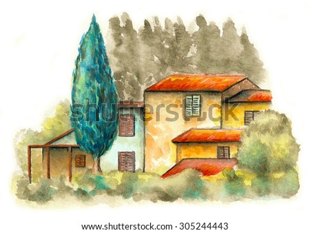 Rural landscape with a country house and some trees. Original watercolor. - stock photo