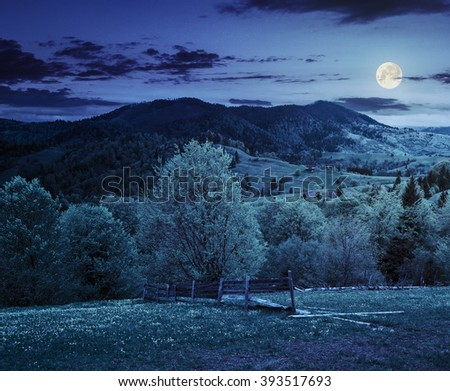 rural landscape with fence near the meadow and forest on the hillside at night in full moon light - stock photo