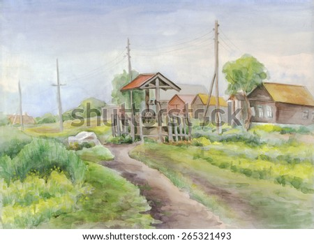 Rural landscape with road, wells and houses. Painting. Watercolor - stock photo